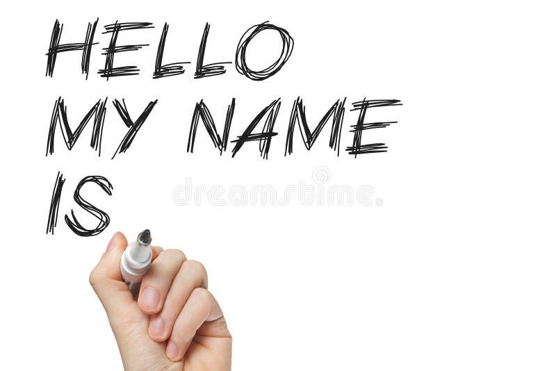 Hello mitt namn är arkivfoto