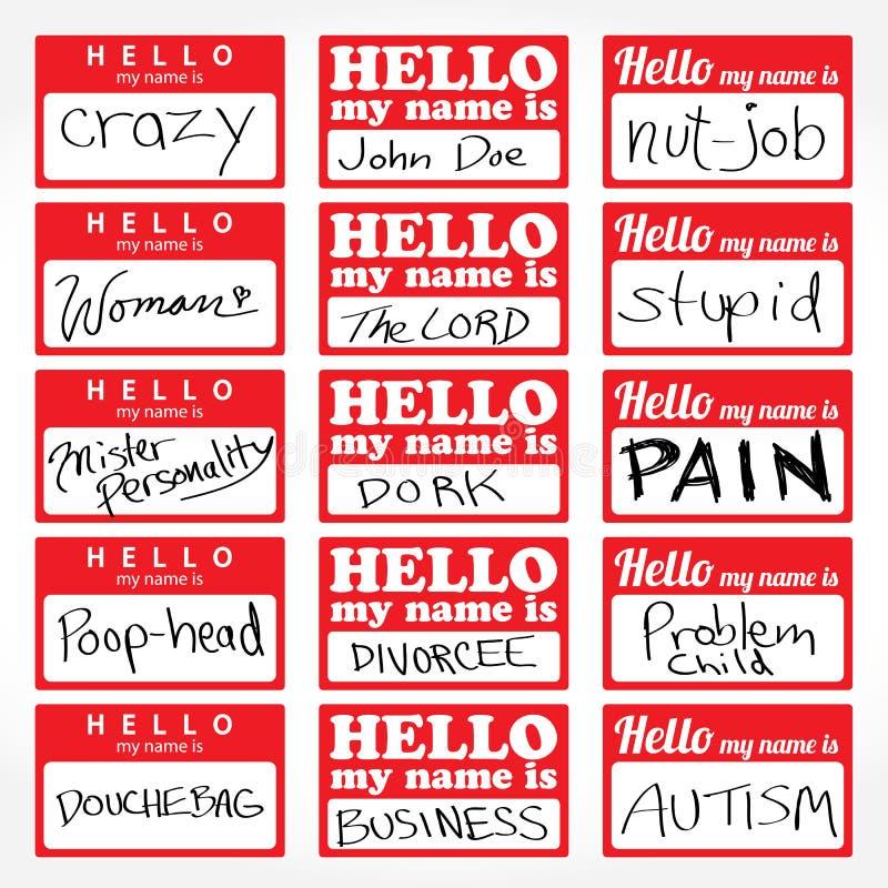 Hello mitt namn är Nametags stock illustrationer