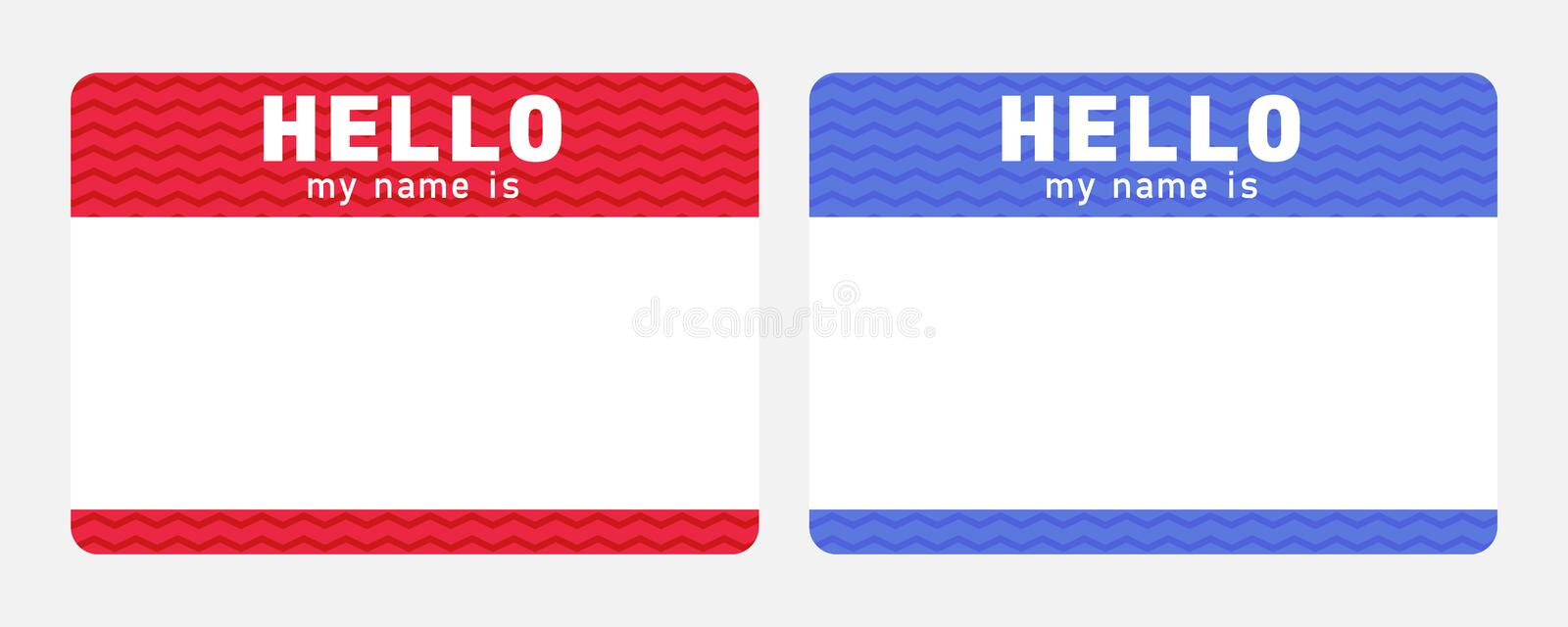 Hello my name is - sticker. Red and blue nametag. Dating and meeting ice breaker label stock illustration