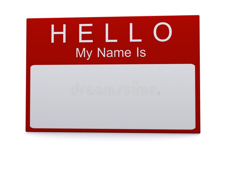 Hello my name is tag. A hello my name is sticker royalty free stock photography
