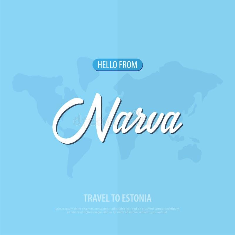 Hello from Narva. Travel to Estonia. Touristic greeting card. Vector illustration. vector illustration