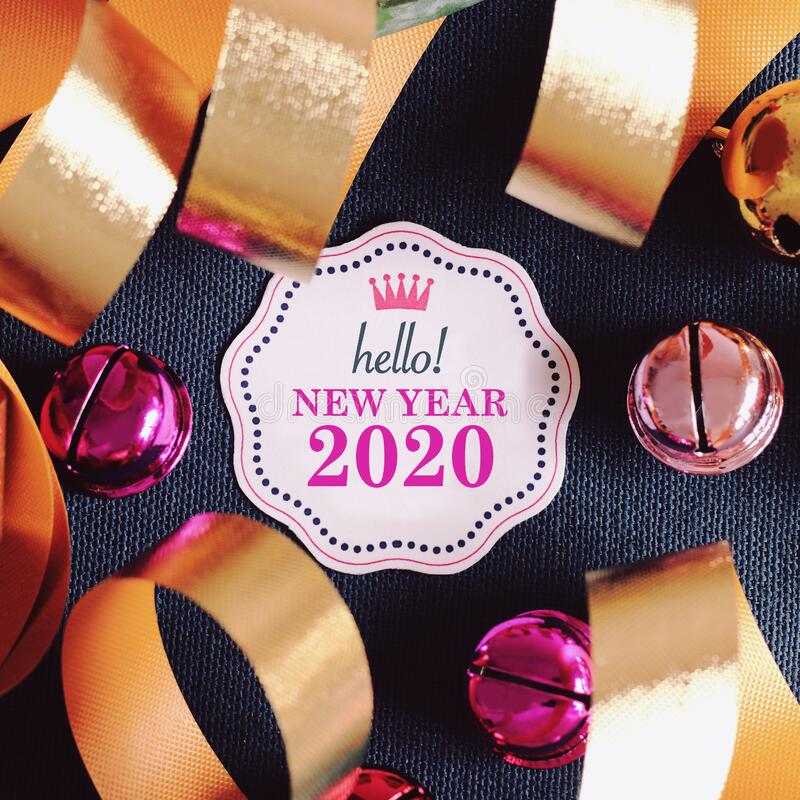 Hello new year 2020 with colorful decoration royalty free stock image
