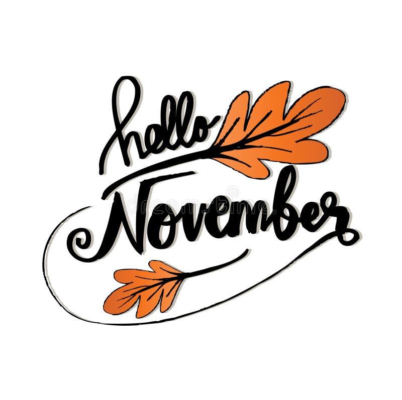 Hello november royaltyfri illustrationer
