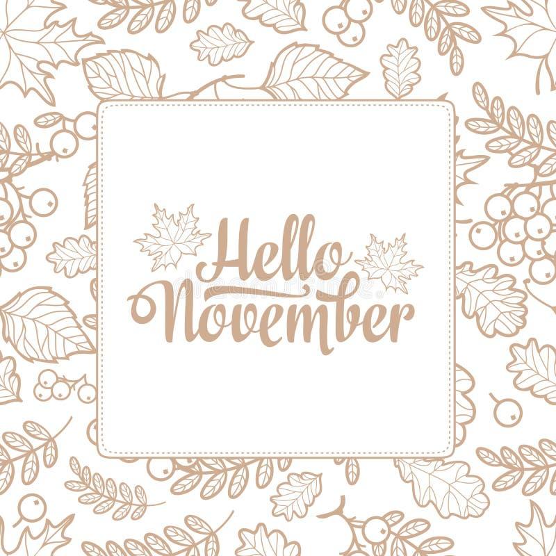 Download Hello November. Autumn Leaf Ornamental Frame. Stock Vector    Illustration Of Nature,