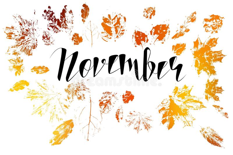 Hello November, bright fall leaves and lettering stock illustration