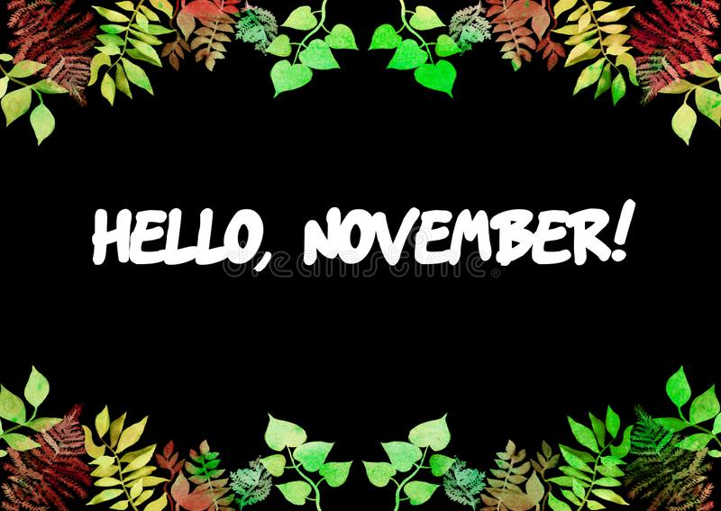 Hello, November-kaart Creatief kader voor ontwerp van affiche, banner, kaarten Trillende hand geschilderde waterverf kruideneleme royalty-vrije illustratie