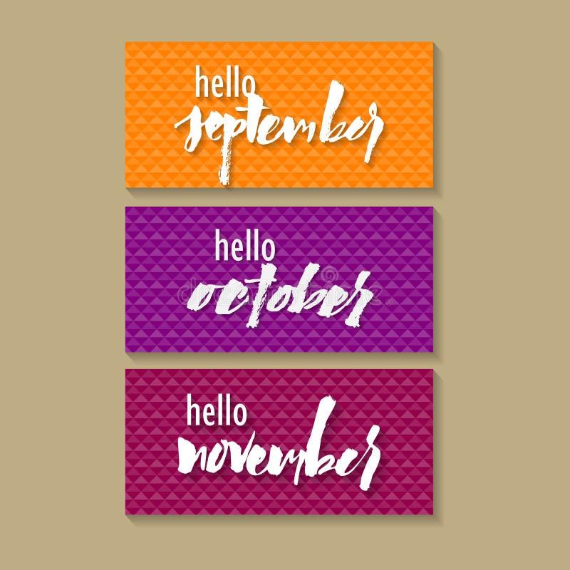 Hello november Skriftligt elegant uttryck för hand Typografiaffisch, klisterm?rkedesign, dr?kttryck vektor illustrationer