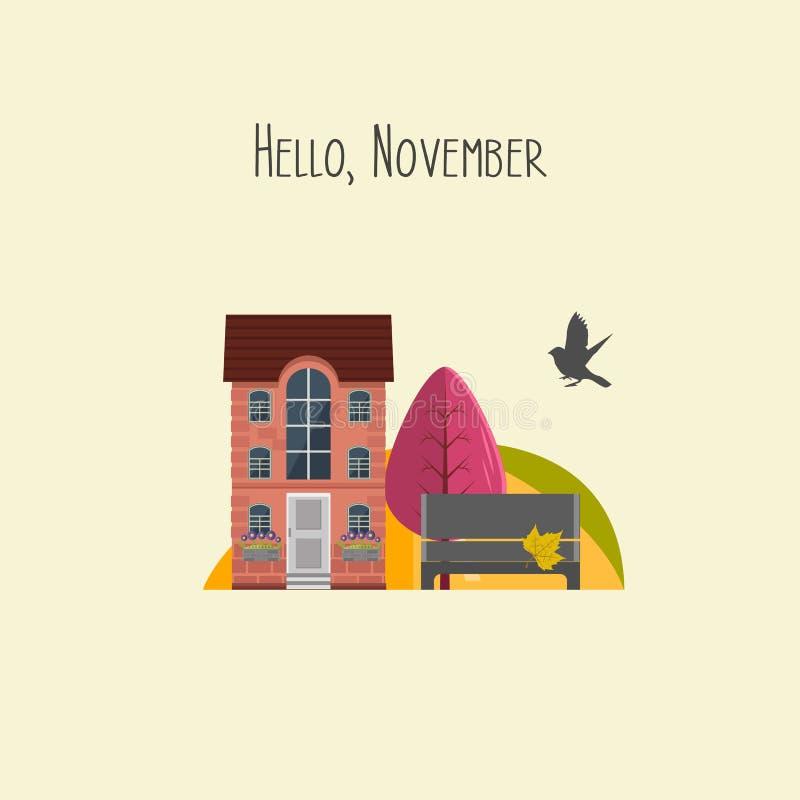 Hello november Vector illustratie Leuk kleurrijk huis, tuin met de herfstboom royalty-vrije illustratie