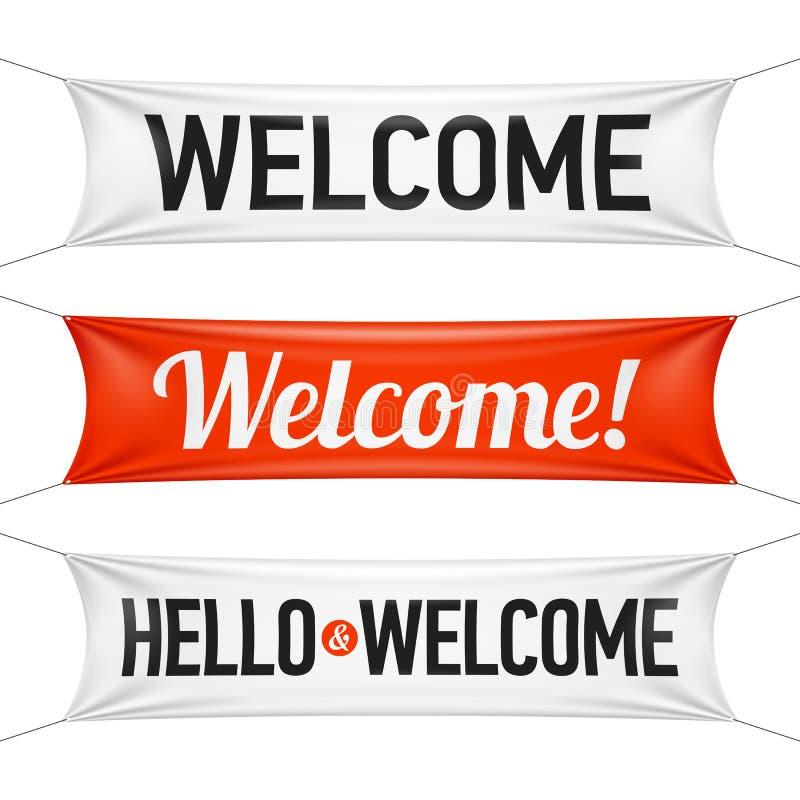 Hello och välkomna baner stock illustrationer