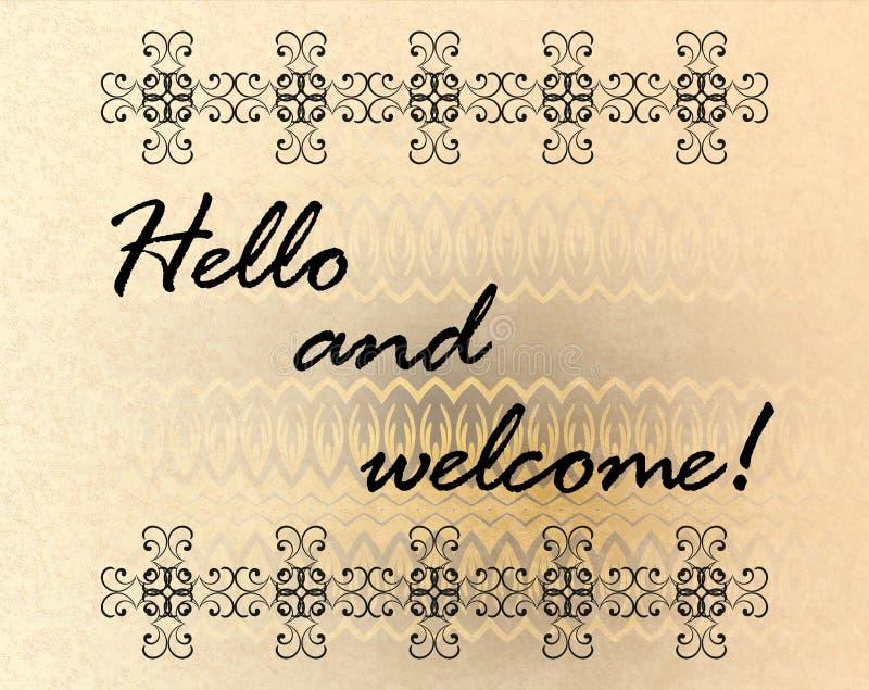 Hello och välkomnande royaltyfri illustrationer