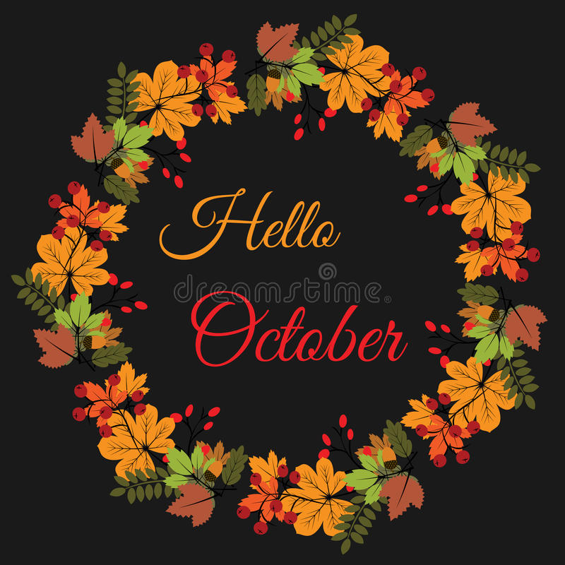 Hello October Text On Pastel Spray Paint Background Stock Vector ...