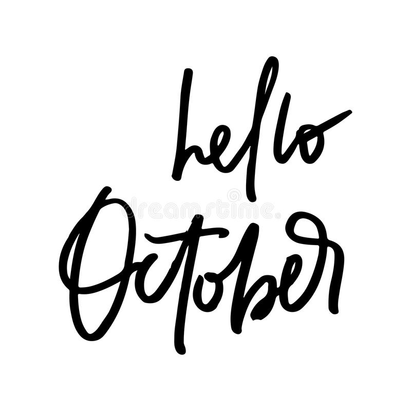 Download Hello October Fall Life Style Inspiration Quotes Lettering Stock Illustration