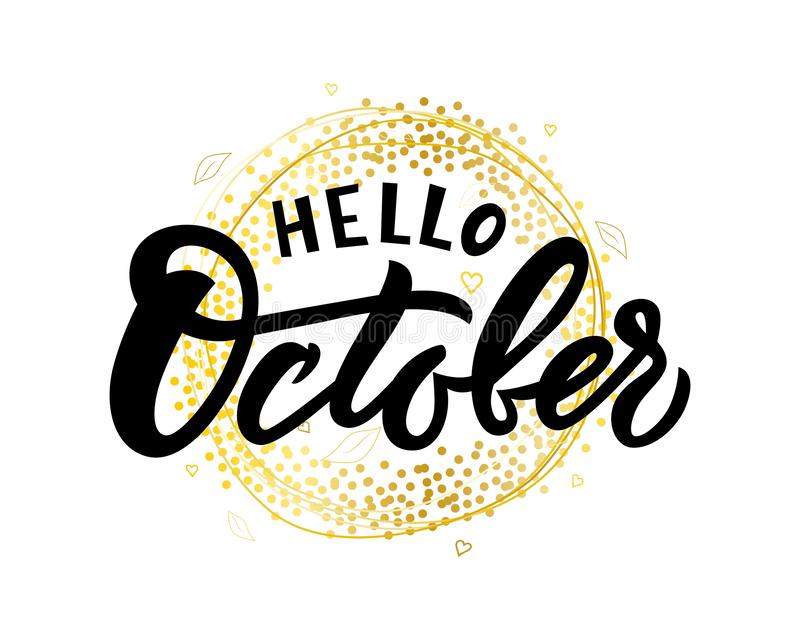 Hello October hand lettering on golden wreath with leaves. stock illustration