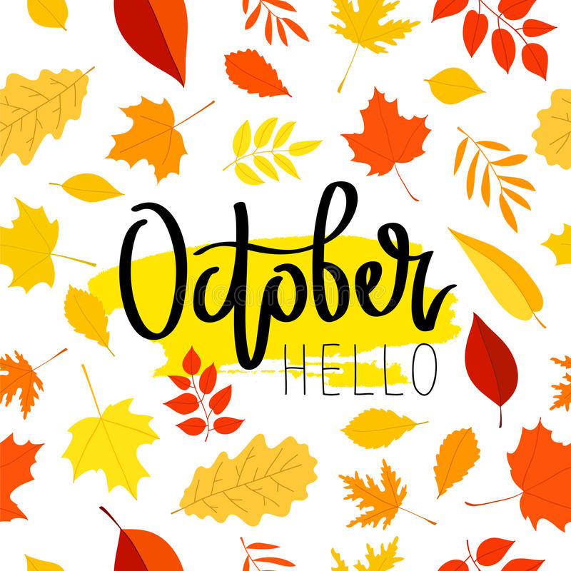 Download Hello October. The Trend Calligraphy. Stock Vector   Illustration  Of Autumn, Pattern