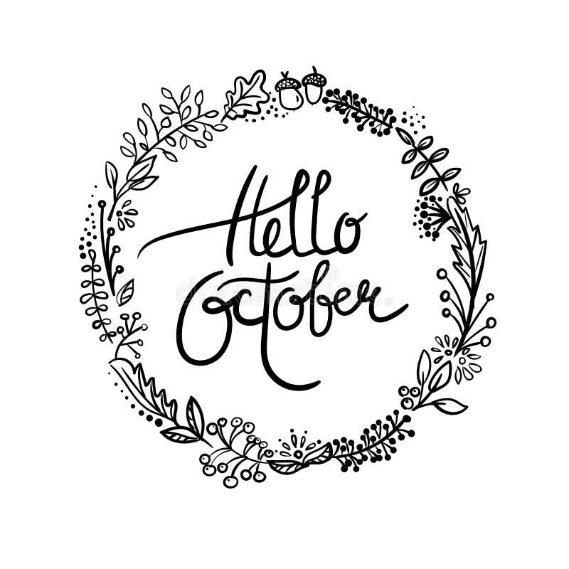 Hello October Vector Illustration Hand Drawn Stock Vector ...