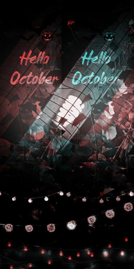 Hello oktober groet kaart in dubbel kleureneffect, met de gloeilampen van het halloween thema de nacht stock afbeelding