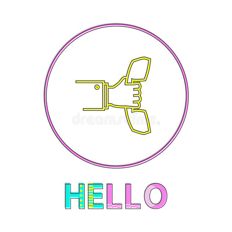 Hello om Lineair Pictogram met in Hand Ontvanger stock illustratie