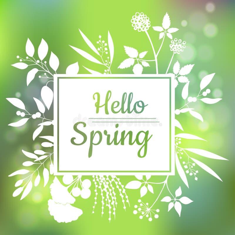 Hello-ontwerp van de de Lente het groene kaart met een geweven abstracte achtergrond en een tekst in vierkant bloemenkader stock foto