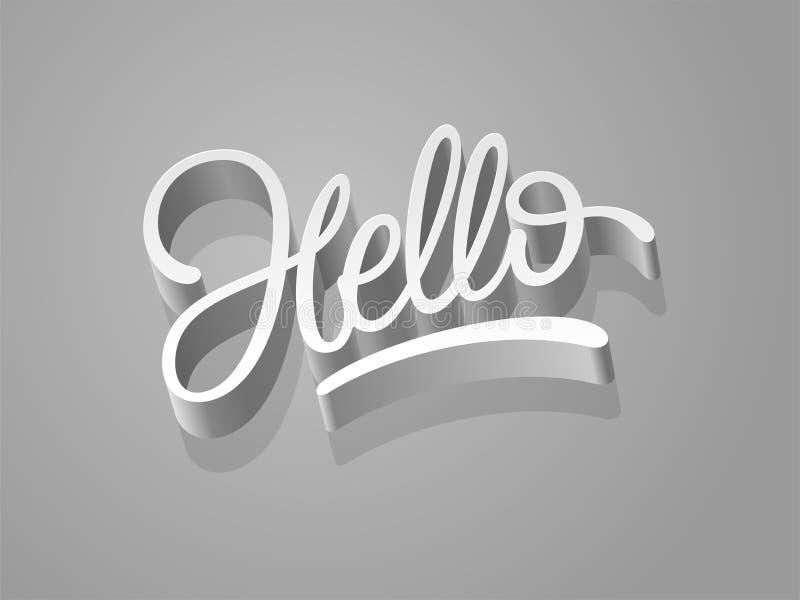 Hello-ontwerp van de woord 3d kalligrafie Met de hand geschreven hello manuscript Vector illustratie Het van letters voorzien voo royalty-vrije illustratie