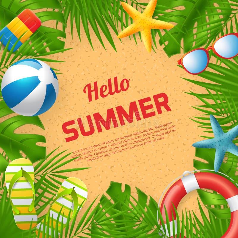 Hello-ontwerp van de de Zomer het vectorbanner met kleurrijke strandelementen stock illustratie
