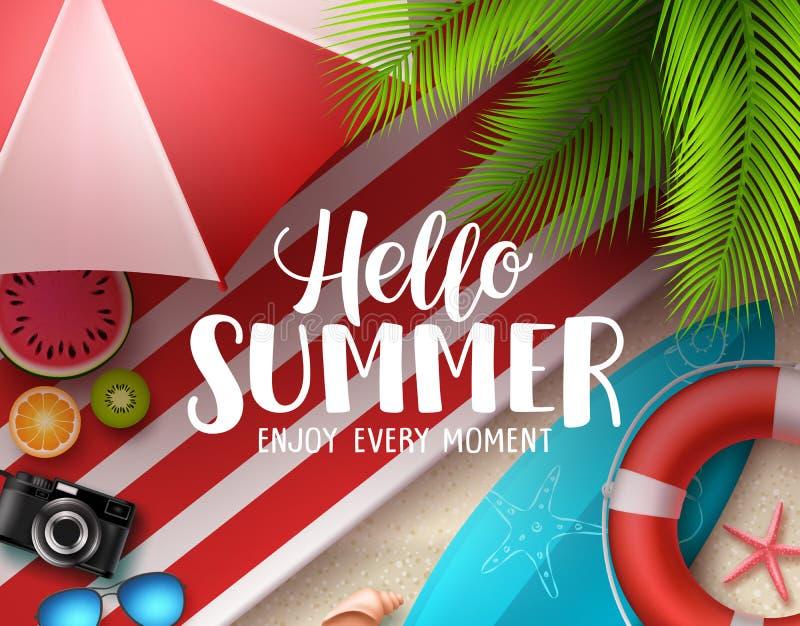 Hello-ontwerp van de de zomer het vectorbanner Hello-de zomertekst met kleurrijke strandelementen zoals surfplank stock illustratie