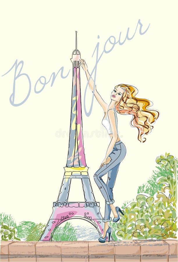 Hello, Parijs Maniermeisje dichtbij de Toren van Eiffel vector illustratie