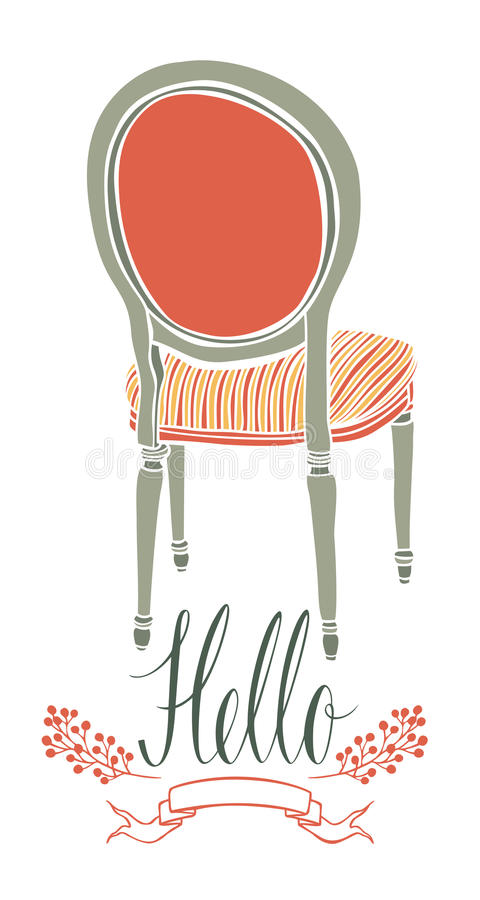 Hello postcard with vintage chair stock illustration