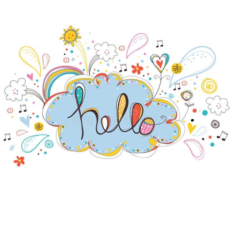 hello Prettekst Inspirational affiche, typografisch ontwerp, vectorillustratie Moderne kleurrijke grungetekst stock illustratie