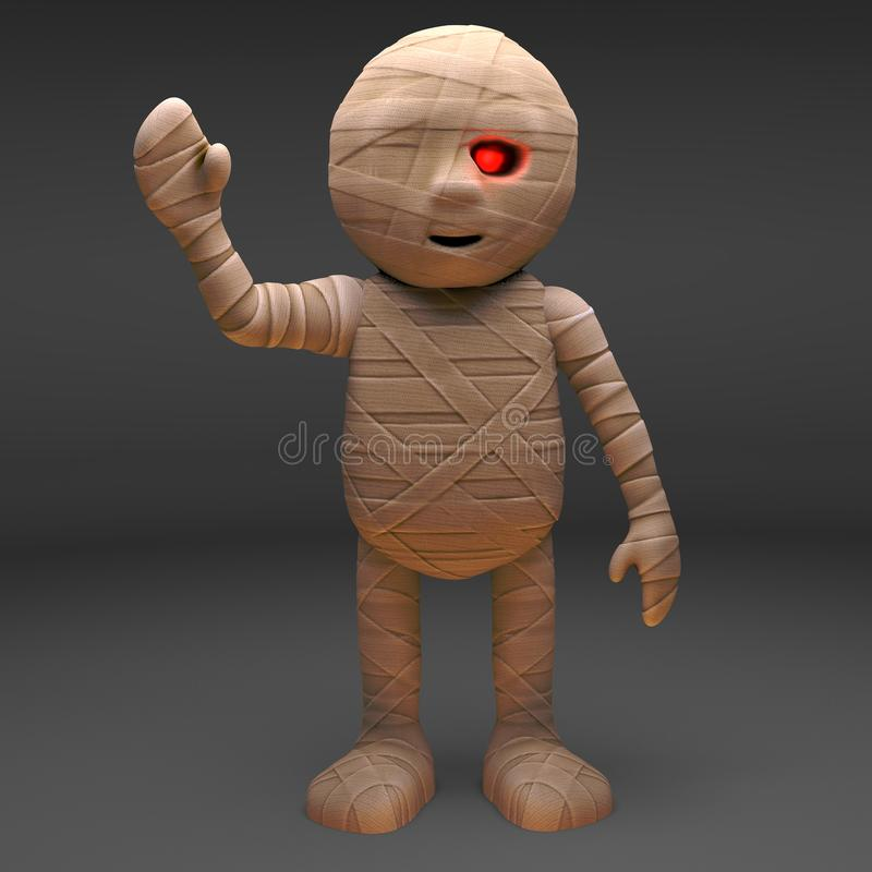 Hello says the undead Egyptian mummy monster with a carefree wave, 3d illustration. Render vector illustration