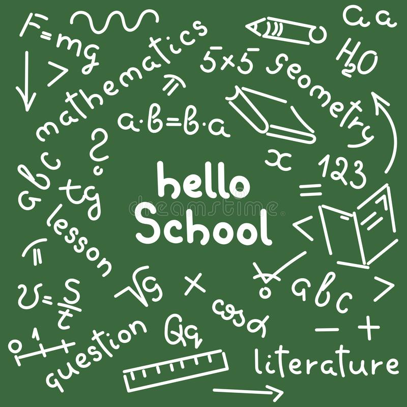 Hello School. Doodle hand-drawing. Names of school subjects, formulas, books, notebooks, pencils. Background. Hello School. Doodle hand-drawing. Names of school royalty free illustration