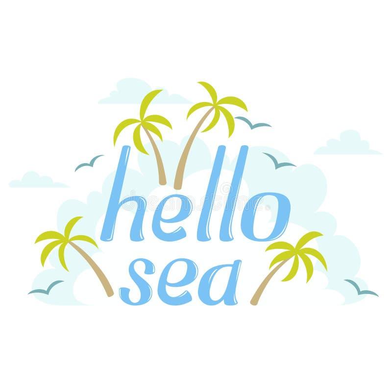 Hello Sea island word vector illustration