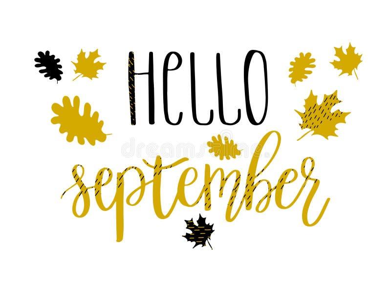 Hello september bokstävertext med höstsidor och ekollonar illustratören för illustrationen för handen för borstekol gör teckninge stock illustrationer