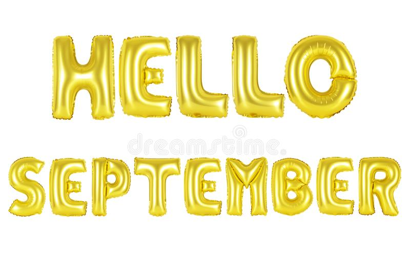 Hello september, gold color. Gold alphabet balloons, hello september, Gold number and letter balloon stock photos