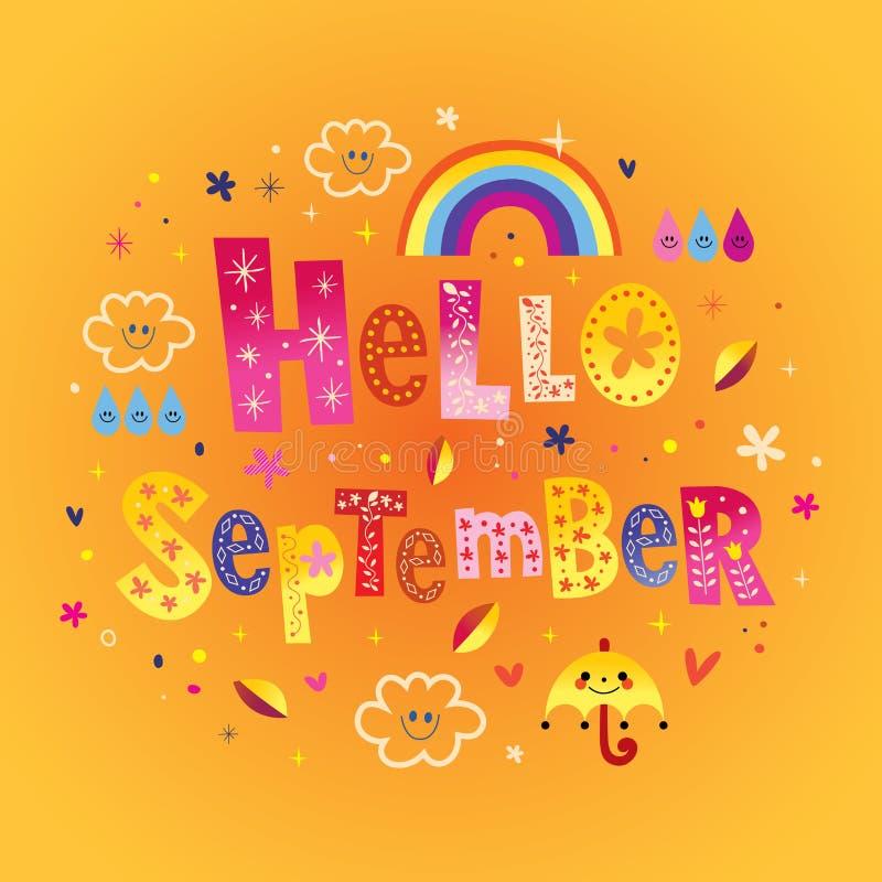 Hello September hälsningkort stock illustrationer
