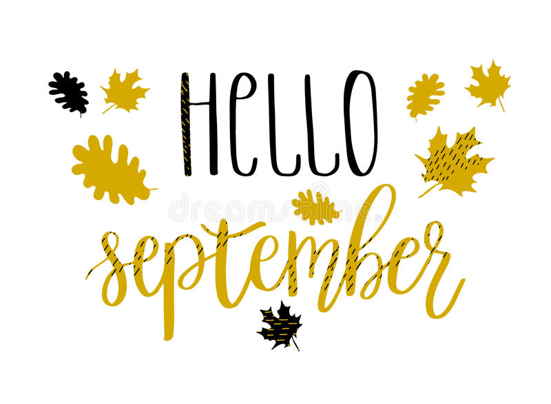 Hello september lettering text with autumn leaves and acorns. Hand drawn illustration. stock illustration