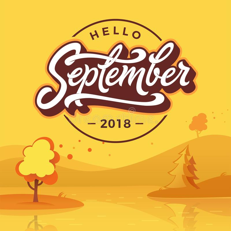 Hello September round badge with autumn landscape. Flat style. Vector typography. Brush lettering for banner, poster royalty free illustration