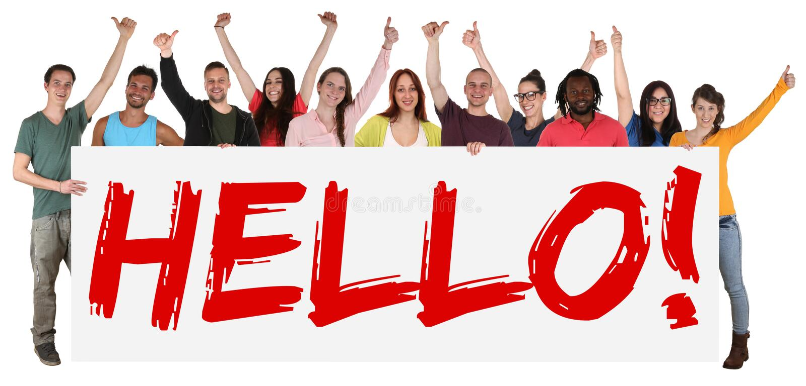 Hello sign group of young multi ethnic people holding banner stock photos