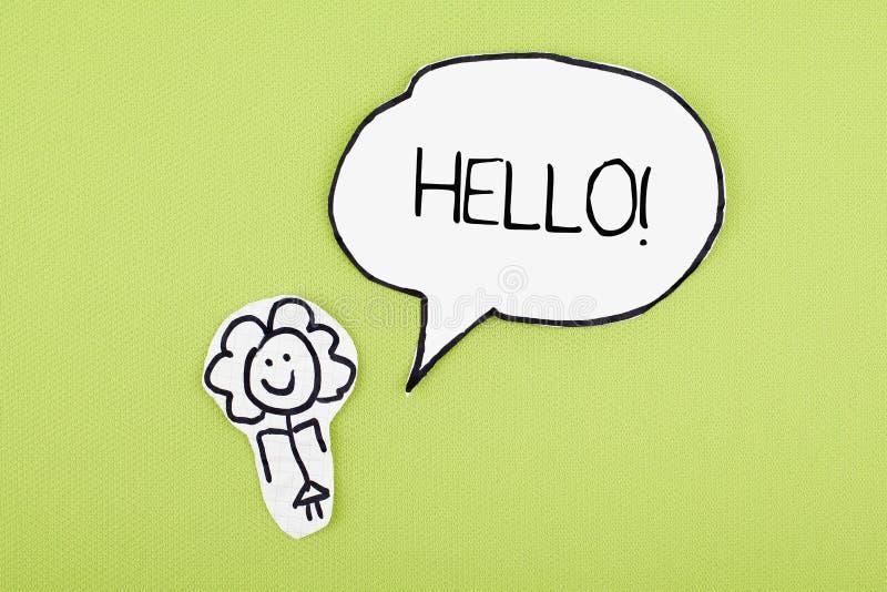 Hello single Word in Speech Bubble stock photos