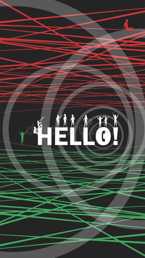 Hello! Sometimes it`s so hard to get through! Wallpaper stock illustration