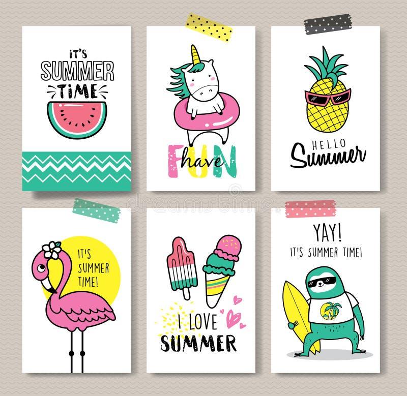 Hello sommar stock illustrationer