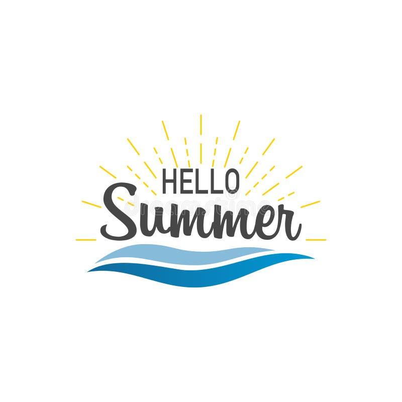 Hello sommar Banerhälsningsommar med sunburst och vågor Sumer illustration Textsommar, i att märka stil vektor vektor illustrationer