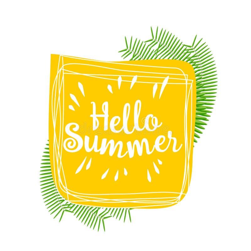 Hello sommar Dragen bild för vektor livlig hand royaltyfri illustrationer