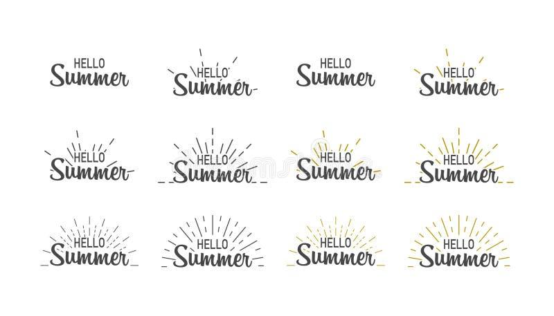 Hello sommar Fastställd hälsningsommar för baner med den sunburst Sumer illustrationen Textsommar, i att märka stil vektor stock illustrationer