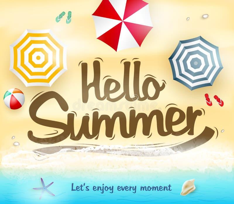 Hello Sommar Le Us Tycka om varje ögonblick stock illustrationer