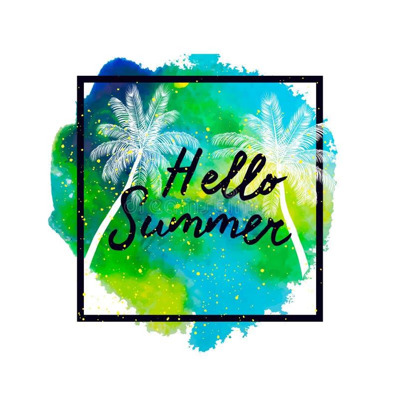 Hello sommar Palmträd på ljus färgrik vattenfärgbackgroun stock illustrationer