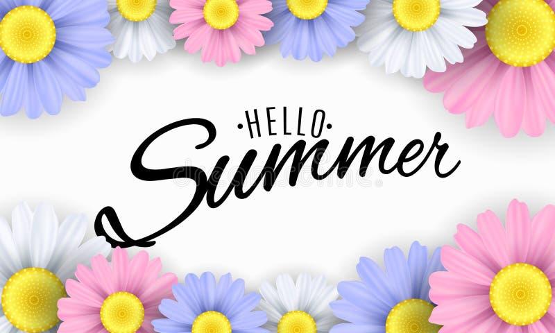 Hello sommar Säsongsbetonat baner Mångfärgade blommor på en vit bakgrund Calligraphic svart text också vektor för coreldrawillust vektor illustrationer