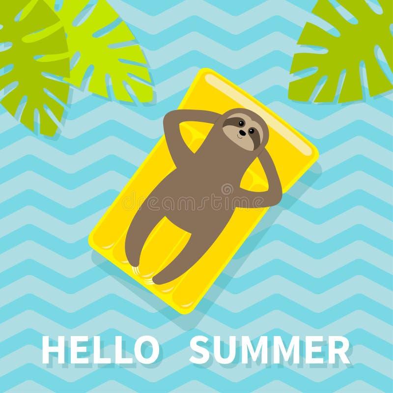 Hello sommar Sengångare som svävar på den gula madrassen för luftpölvatten Bästa flyg- sikt Sakta ner gömma i handflatan leafen f stock illustrationer