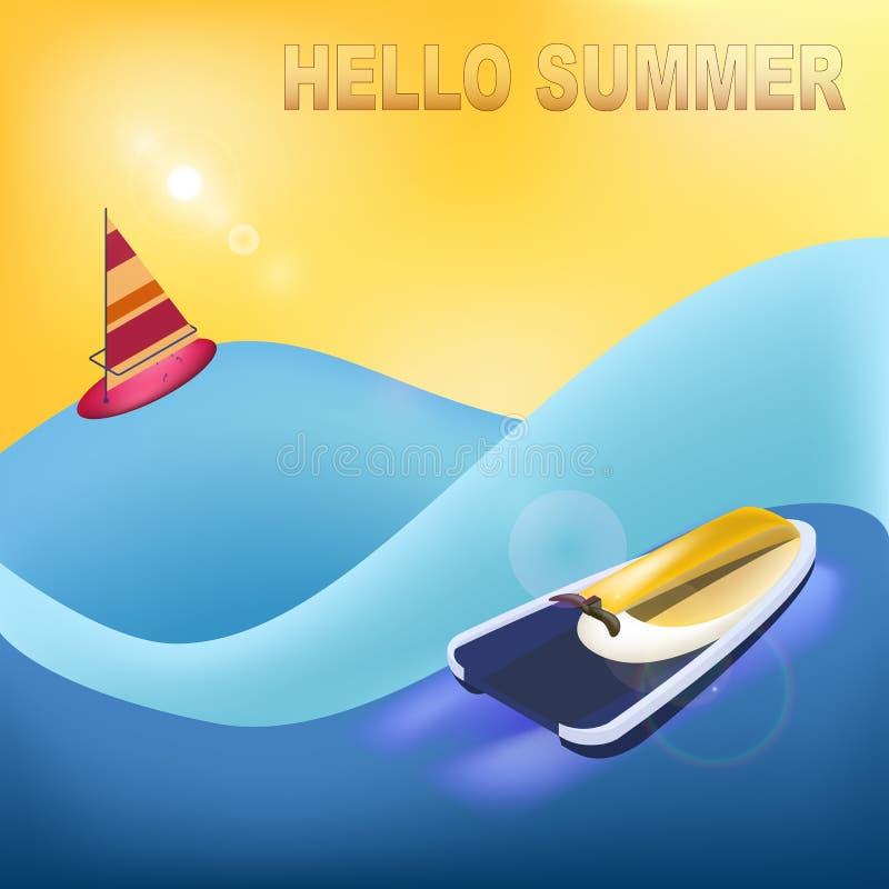 Hello sommar Strand och havssportar och gyckel Isolerade beståndsdelar ljus bakgrund royaltyfri illustrationer