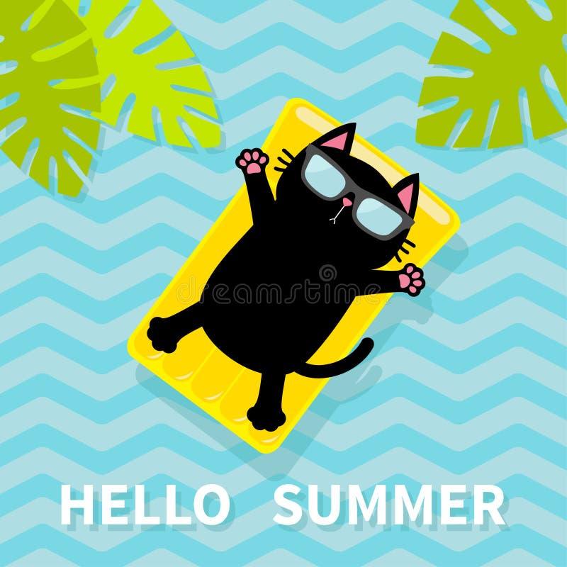 Hello sommar Svart katt som svävar på den gula madrassen för luftpölvatten gömma i handflatan leafen för bilden för den blåa boke stock illustrationer