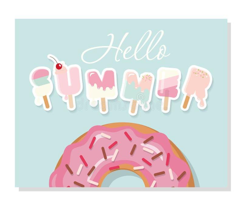 Hello sommar Tecknad filmglassbokstäver Gullig design för affischer, baner som annonserar royaltyfri illustrationer